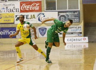Jugada correspondiente al partido que ha enfrentado al Jaén FS contra el Osasuna Magna en la Salobreja.