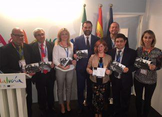 El presidente de Diputación de Jaén con las alcaldesas de Úbeda y Baeza.