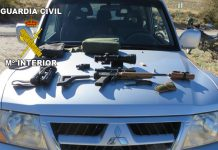 Arma incautada por la Guardia Civil de un cazador furtivo.