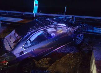 Accidente que se produjo en la noche de ayer en la A-316. FOTO: Bomberos de Jaén