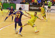 Jugada del partido que ha enfrentado al Jaén Paraíso Interior y FC Barcelona