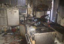 Incendio de una cocina donde actuaron los bomberos de Jaén.