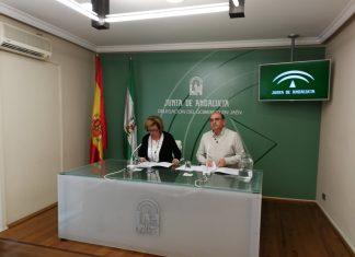 Teresa Vega y Antonio Resola durante la comparecencia que han ofrecido para dar explicaciones del caso ocurrido en Urgencias de Úbeda.