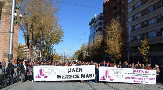 Imagen de la última manifestación en diciembre organizada por la plataforma Jaén Merece Más.