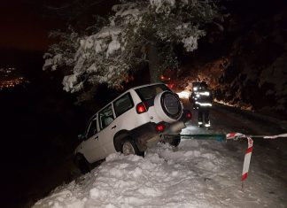Efectivos de bomberos de Jaén aseguran el vehículo para evitar su caída por el barranco. FOTO: Bomberos de Jaén