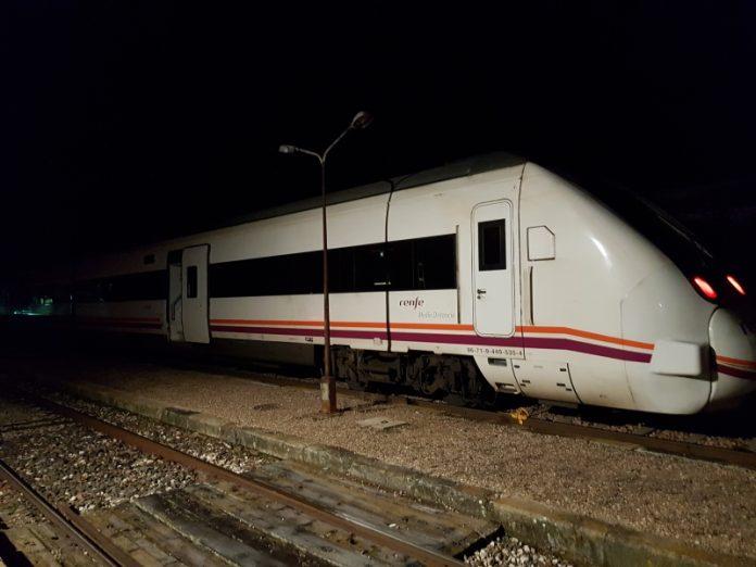 Último tren que se paró en la red ferroviaria de Jaén el pasado 7 de febrero.
