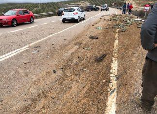 Accidente ocurrido en la N-322 a la altura de Villanueva del Arzobispo