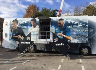 Exterior del autobús del Real Madrid.