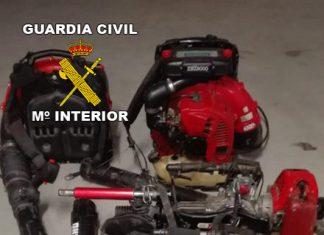 Maquinaria en Baeza recuperada por la Guardia Civil. FOTO. Guardia Civil