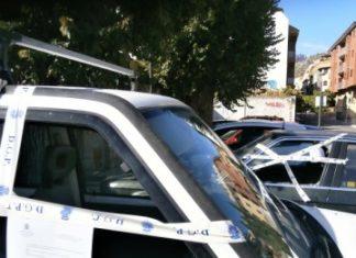 Actos vandálicos ocurridos en la calle Las Cruces.