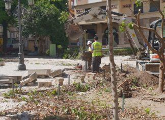Las obras en la plaza Deán Mazas continúan. FOTO: HoraJaén