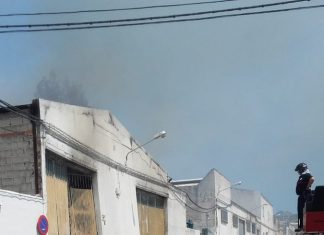 Incendio de una nave en Torredonjimeno. FOTO: Bomberos de Jaén