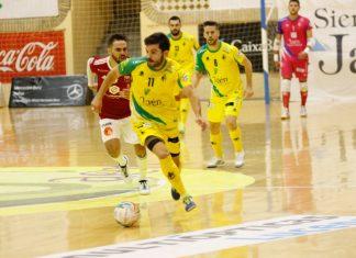 Imagen del partido correspondiente de la jornada de liga que ha enfrentado al Jaén FS y el Zaragoza. FOTO: Jesús Chaves
