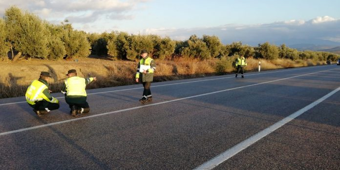 Agentes de la Guardia Civil llegados de Madrid analizan el lugar del accidente. FOTO: HoraJaén