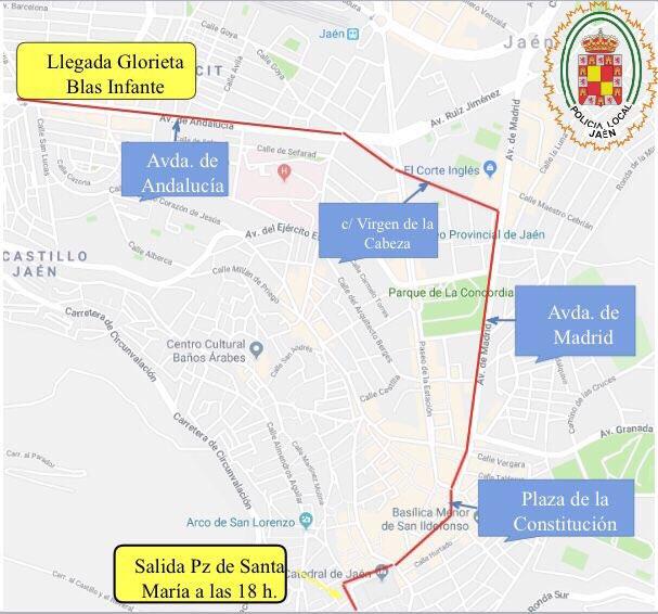 Mapa del recorrido elaborado por la Policía Local de Jaén.