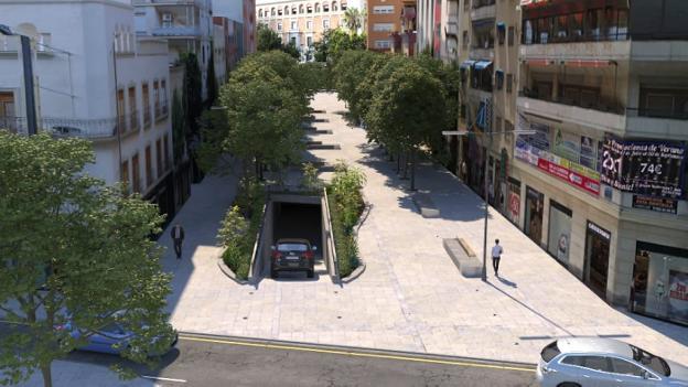 Así quedará Roldán y Marín tras las obras de ampliación del aparcamiento subterráneo.
