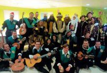 La Tuna de Jaén en la visita al hospital durante el año pasado.