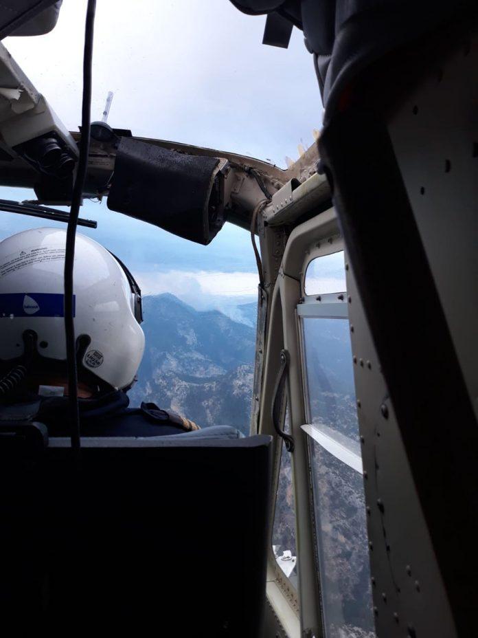 Imagen del incendio desde un helicóptero de Infoca. FOTO: Infoca