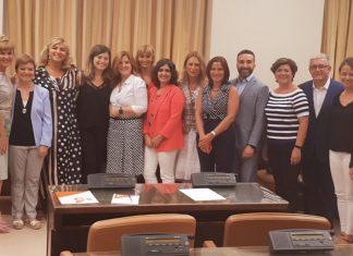 Comisión de Igualdad del Congreso con la jiennenses Laura Berja, sexta por la izquierda.