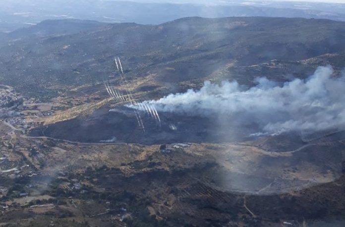 Imagen del incendio de Beas de Segura tomada por vehículo aéreo de Plan Infoca.