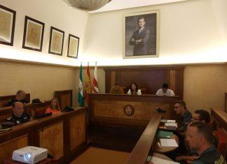 La subdelegada del Gobierno, Catalina Madueño, durante la junta de seguridad local de Andújar antes de hablar con los medios.
