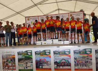 Podio con los nuevos campeones nacionales de XCM. FOTO: Federación Ciclismo Andalucía