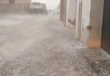 Granizo caído en Torres en la tarde de ayer.