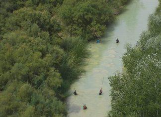 Búsqueda de María Josefa por el río visto desde un dron de la asociación de Guardias Civiles Solidarios.