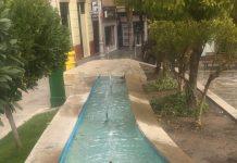 Fuente de San Ildefonso ya limpia y sin basura.