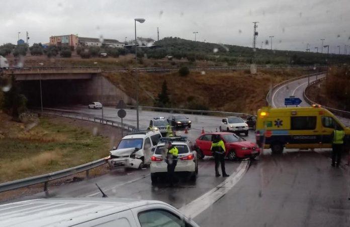 Accidente ocurrido a la entrada de Jaén.