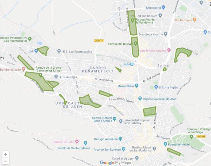 Mapa con los parques de Jaén.