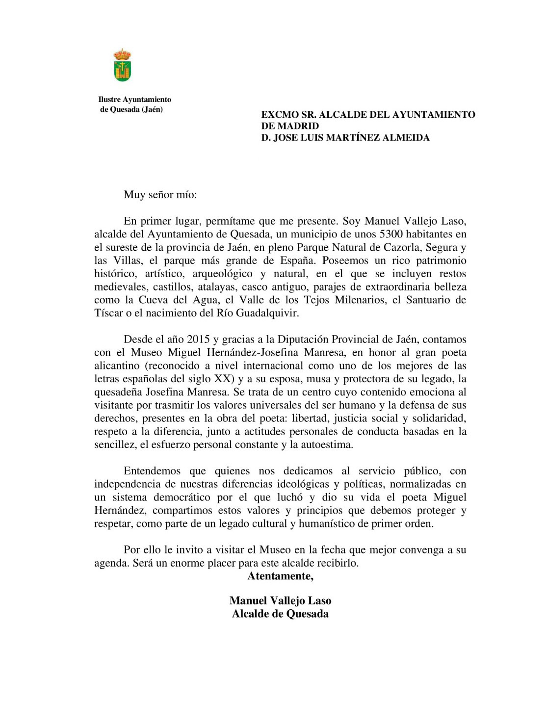 Carta del alcalde de Quesada al alcalde de Madrid sobre Miguel Hernández