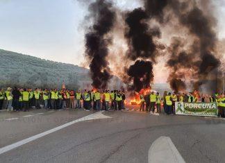 Protesta en defensa del olivar en la A-306 en Porcuna. FOTO: HoraJaén
