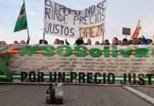 Los agricultores jiennenses protestan por los bajos precios del aceite cortando la A-4 en La Carolina. FOTO: HoraJaén