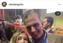 Salud Anguita con Javier Ortega Smith en Vistalegre.