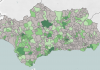 Los municipios en gris notan tenido ningún caso de coronavirus en los últimos 14 días.