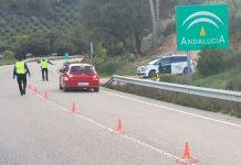 La Guardia Civil en un control de tráfico en Jaén.