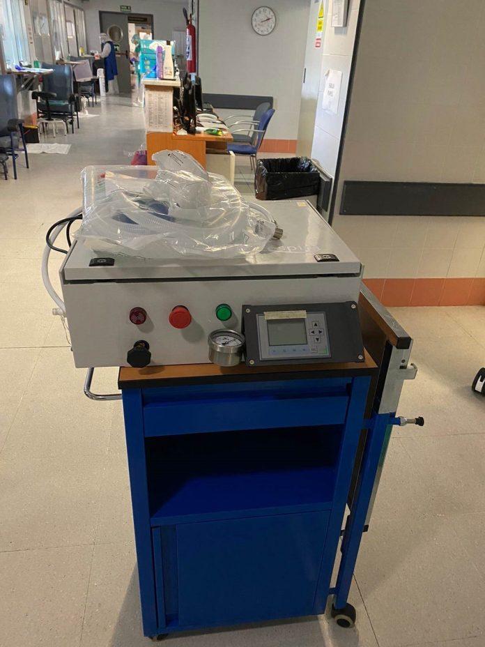 Imagen del respirador probado en el hospital de Antequera. FOTO: Junta de Andalucía