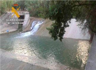 Presa del rio Guadalbullón donde fueron localizados los jóvenes bañándose.