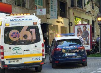 Ambulancia y coche de policía nacional en Paseo de la Estación.