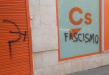 Pintadas en la sede de Ciudadanos en Jaén.