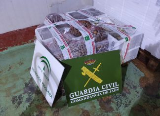 Productos incautados por la Guardia Civil en el mercado de mayoristas de Jaén.