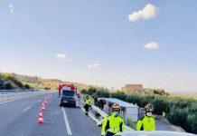 Accidente en la A-44 a la altura de La Guardia. FOTO: Bomberos de Jaén
